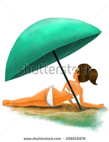 Illustration of a girl resting below a nacar blue umbrella near the sea wearing a white bikini with pony tail.