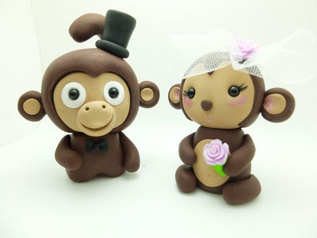 Lustige Hochzeit-Tortenfiguren Affen Brautpaar