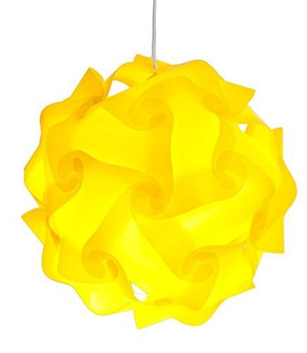 Puzzle Lights with Lamp Cord Kits , Self DIY Assembled Puzzle Lights Mordem Lampshade Iq Lamp Shades M Size (Home Decor Light) (Yellow)