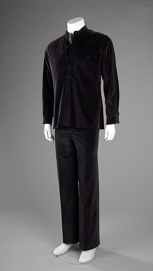 Leisure suit, David Stevens, 1977-79. The leisure suit was a matched shirt and pants set for men made in a comfortable, untraditional fabric and cut in a somewhat flamboyant manner. Made for casual wear, it was one of the many experiments in fashionable menswear during the 1970s. This particular ensemble derives its ease from the velveteen fabric and straight cut shirt.