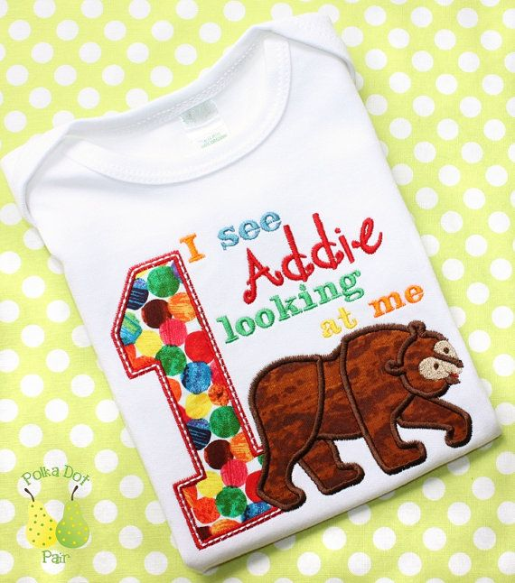 BROWN BEAR Brown Bear 1st 2nd 3rd 4th 5th Birthday personalized Custom monogrammed short sleeve onesie child's T-Shirt appliqued