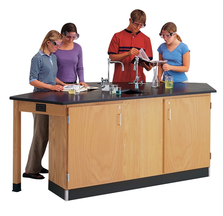Forward Vision 1 - The unique layout of this workstation allows the instructor to see the students, fixtures and storage areas from the front of the classroom. This unparalleled workstation allows four students to work from the same side of the workstation. Unit includes locking storage, two multiservice fixtures, epoxy top and sink, and GFI protected AC electrical duplex receptacles. (DW_2946K)