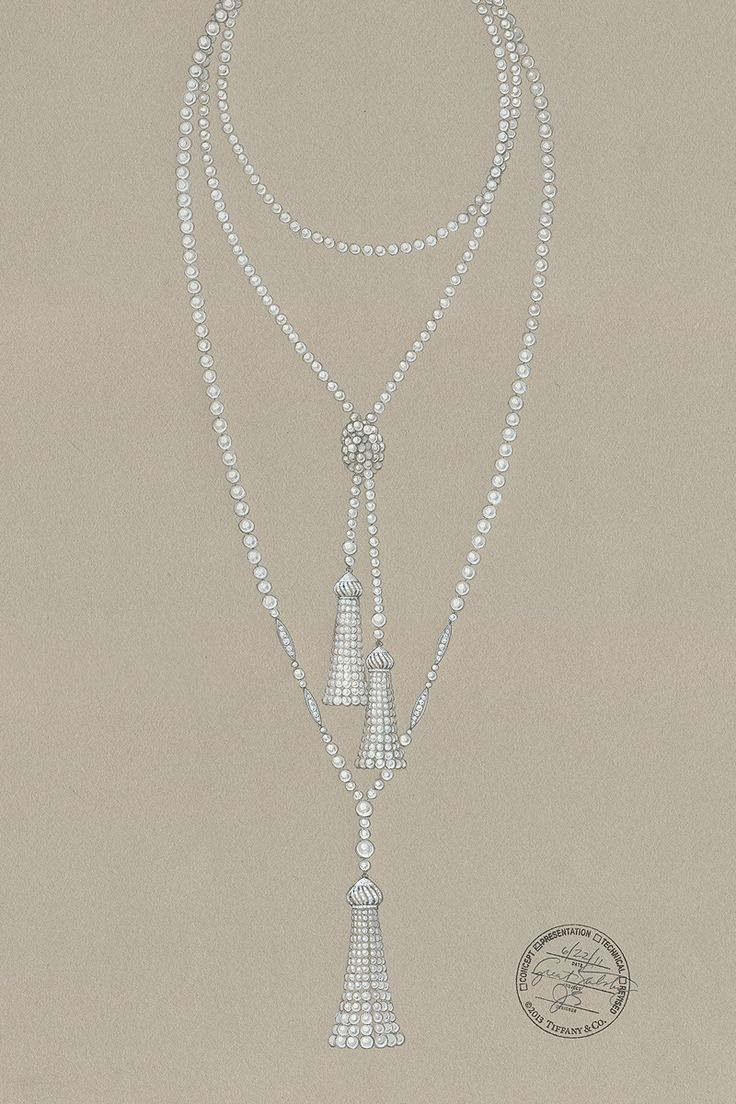 The Great Gatsby (2013) | A Tiffany & Co designer's sketch for a pearl necklace from The Great Gatsby Collection. #partyatgatsby's