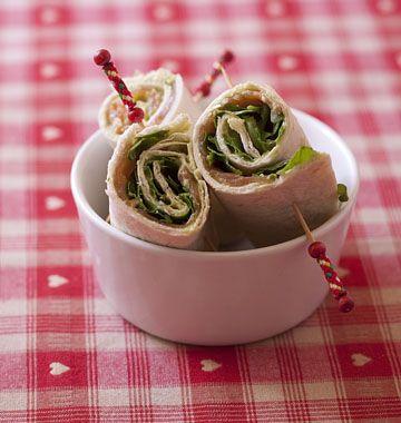Wraps au guacamole, saumon fumé et roquette