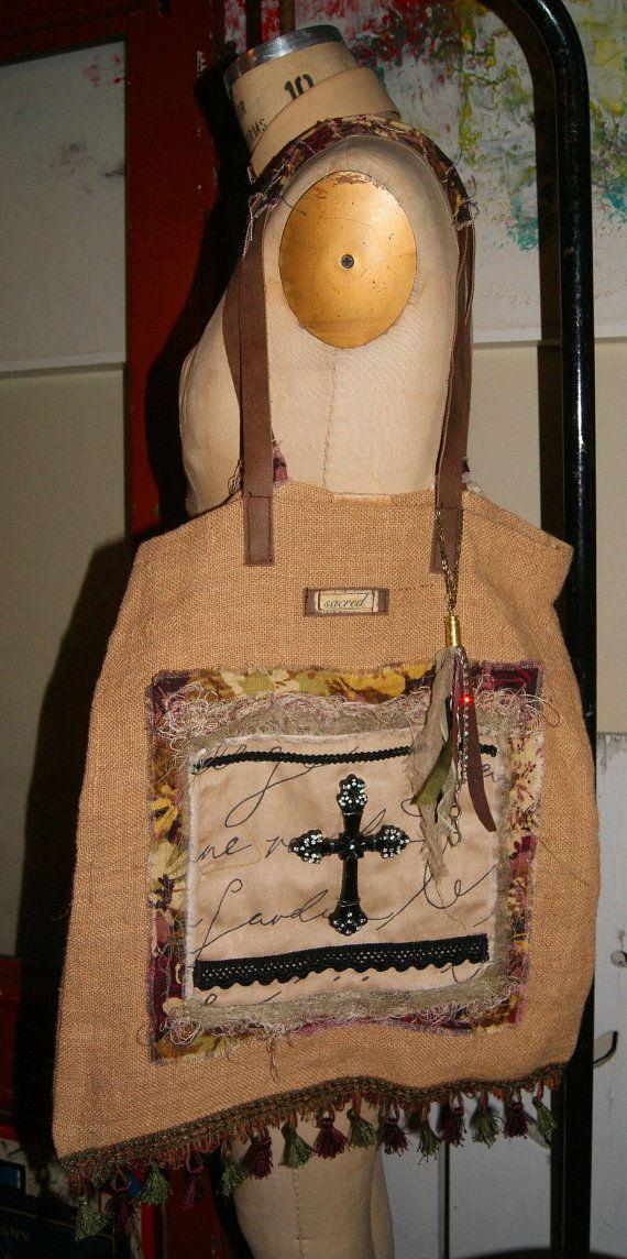 Sold!!! Gypsy Bag Boho Tote Burlap Purse Fringe Cross Bullet by funkologie, $68.00