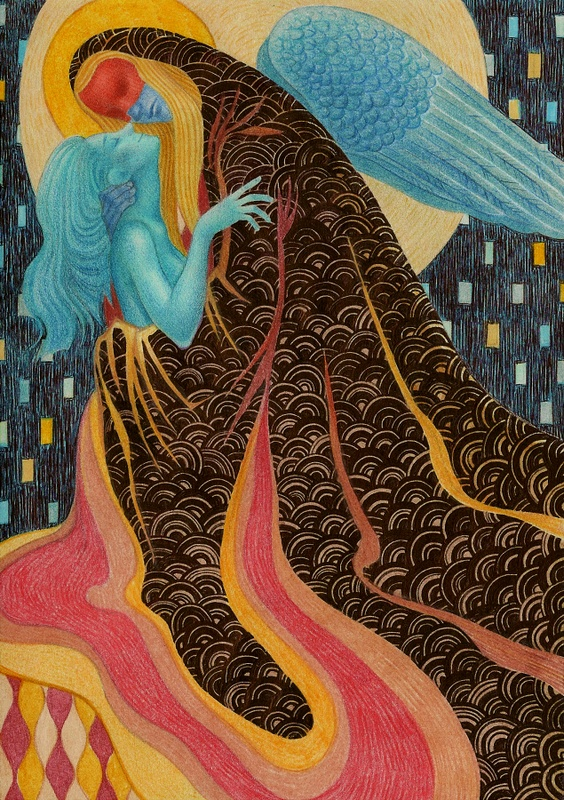 It's like Hellboy meets Klimt which is entirely awesome.  Illustration by zumzum.