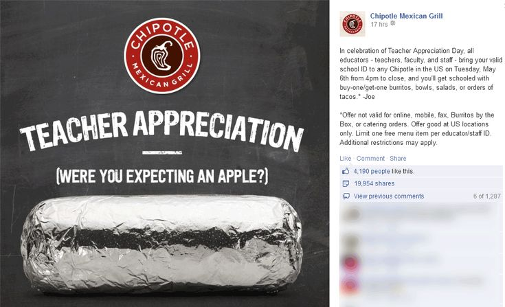 Pinned May 1st: #Teachers enjoy a second order free Tuesday at #Chipotle restaurants