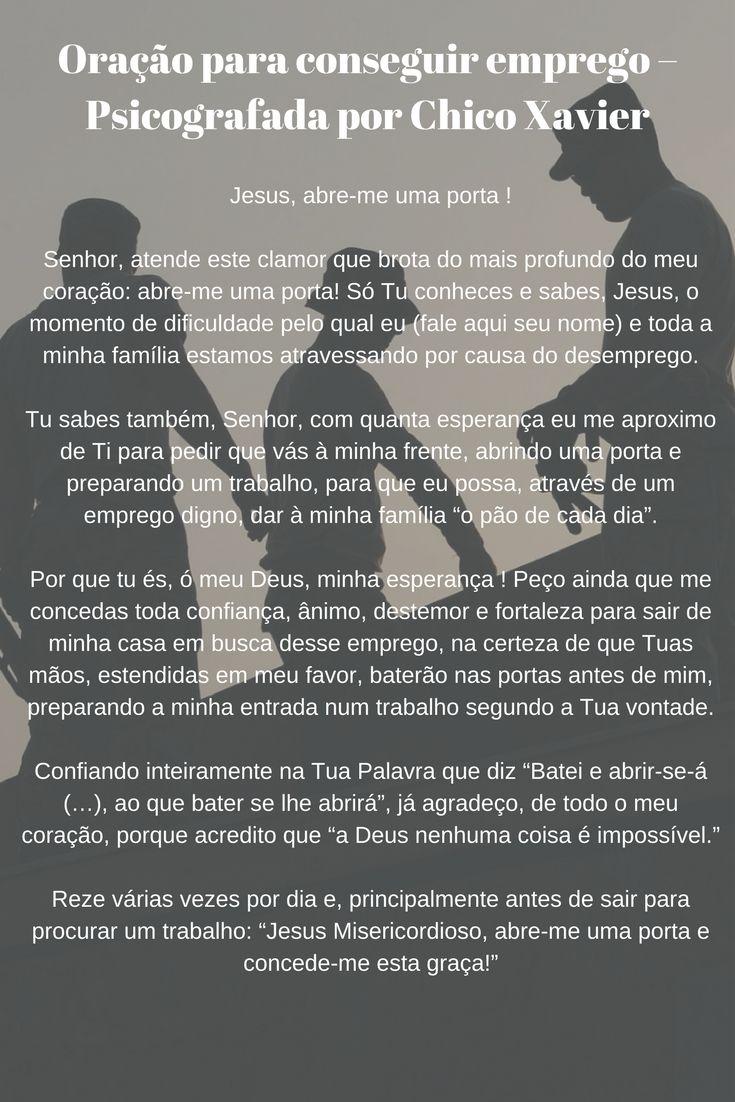 Oração para conseguir emprego - Psicografada por Chico Xavier  #oração #emprego #trabalho