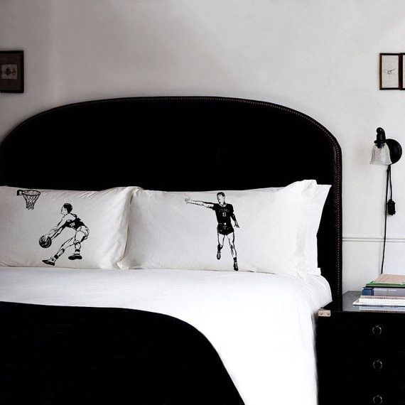 Pillow fighting set of BASKETBALL Sports Theme Standard Size pillowcases
