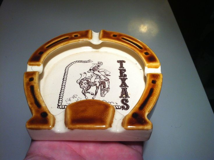 Vintage Ceramic Horseshoe Ashtray Texas Bucking Bronco Cowboy