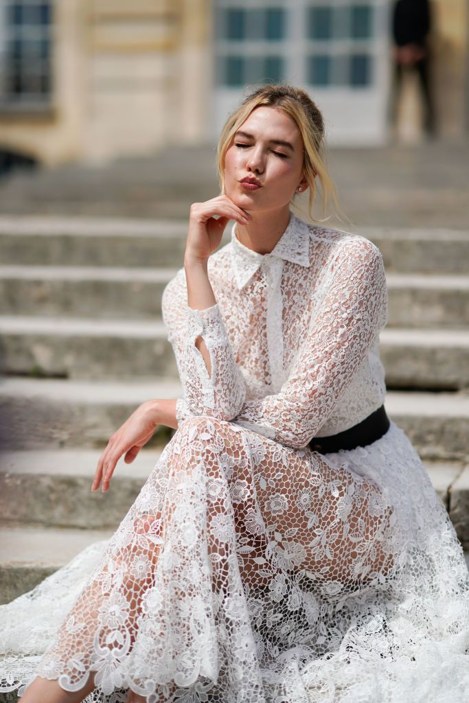 Paris France July 02 Karlie Kloss Wears A White Lace