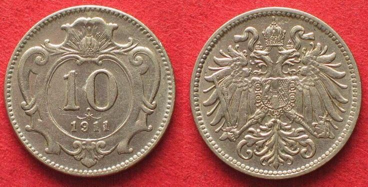 1911 Haus Habsburg K.u.K. 10 Heller 1911 FRANZ JOSEPH I. Nickel SELTENES JAHR! ERHALTUNG!!! # 93382 f.st