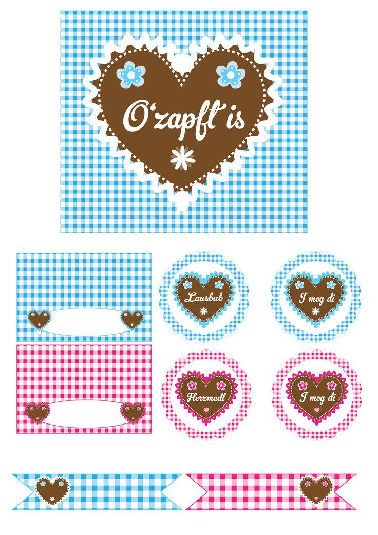 Süße Printables zum Oktoberfest * Lebkuchenherz in Rosa Pink & Blau für Eure Oktoberfest Party * Mit Tischkarten, Fähnchen, Toppern und mehr