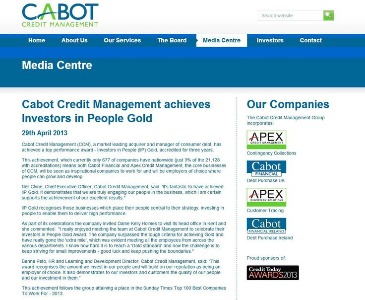 Cabot Credit Management achieves IIP Gold