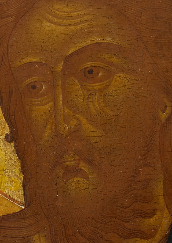 Detailed view: MM073. Saint John the Forerunner- exhibited at the Temple Gallery, specialists in Russian icons