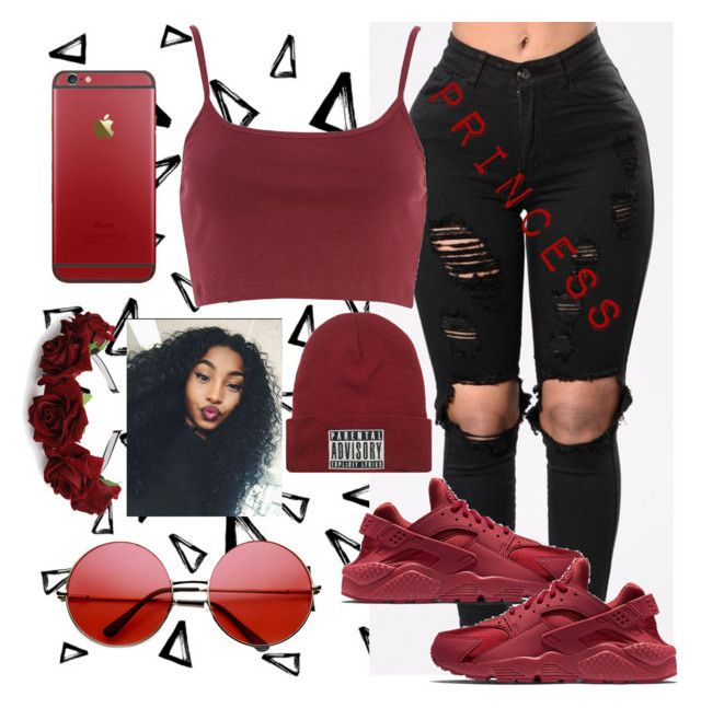 """""""Maroon"""" by lovetayla on Polyvore featuring Nika, Mad Love, River Island, NIKE and INDIE HAIR"""