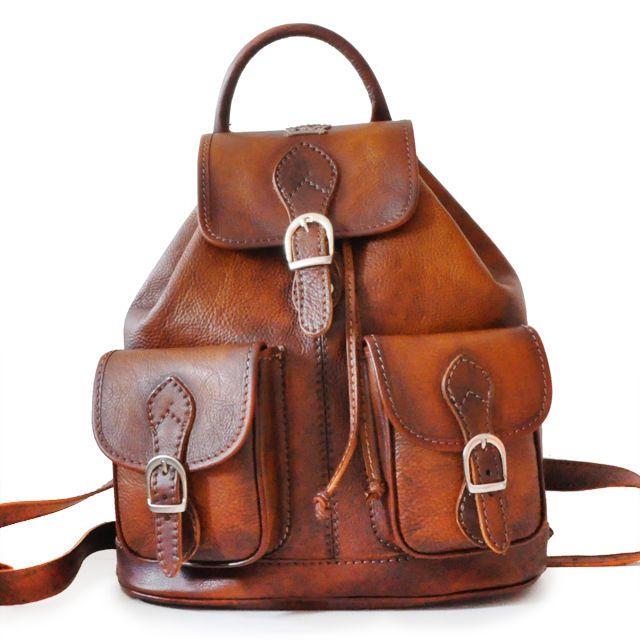 Pratesi borsa da viaggio zaino in pelle con manico italian leather backpack