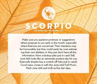 June horoscope 2013 Scorpio