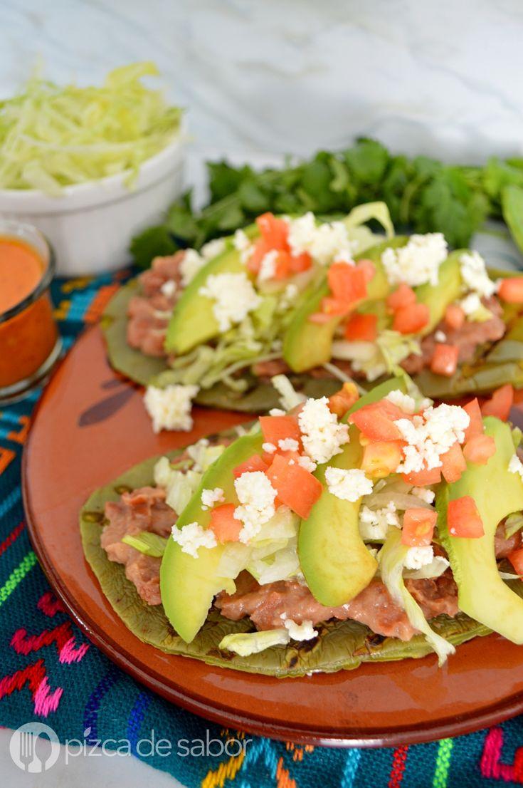 Huaraches de nopal con frijoles www.pizcadesabor.com