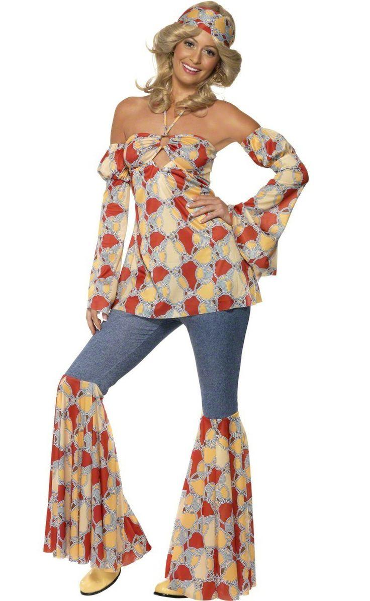 Disfraz de hippie años 70 para mujer: Este disfraz disco para mujer está compuesto de una camiseta, dos mangas, un pantalón y un pañuelo. La camiseta sin mangas te ata al cuello. Las mangas son elásticas y...