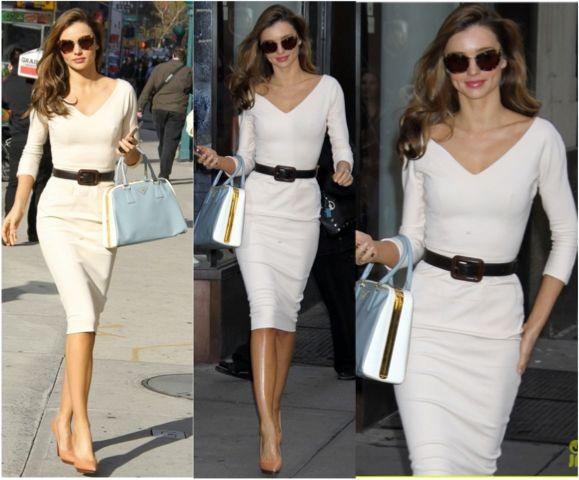 Haftanın stil ilhamı Miranda Kerr... Siz de onun gibi beyaz etek ve bluzlarınızı siyah renkli kemer ile kombinleyerek belinizi daha ince gösterebilirsiniz. #love #fashion #style #moda #trends