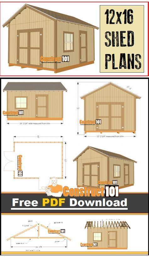12x16 shed plans gable design pdf download pdf for Storage shed plans pdf