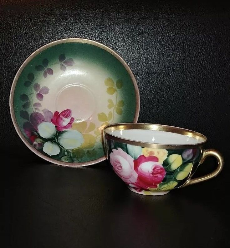 Vintage L.S.& S. Hand Painted Porcelain Tea Cup & Saucer Set, Signed. China Teacup.