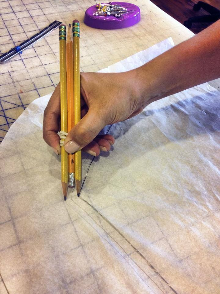 "Here is a great little tip when measuring your seam allowance, stack three pencils together with a rubber band. One stroke and you have the perfect 1/2"" seam allowance. So clever!"