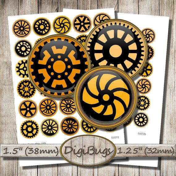 """Digital Collage Sheet, Steampunk Printable Images, Round Gear Silhouettes, 1.25"""" ,1.5"""" Circles, Orange and Black, Instant Download, c8"""
