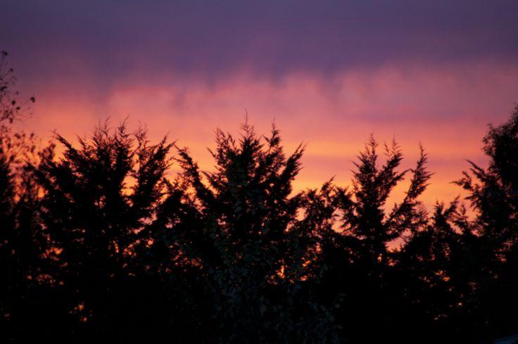 Sunset through the stubble burn off smoke