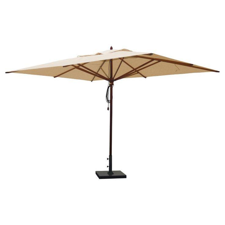 Greencorner 10 x 13 ft. African Mahogany Rectangular Patio Umbrella Beige - RC1013QS2038