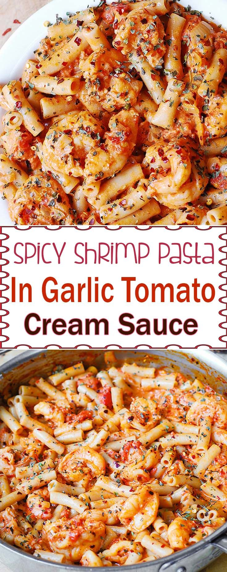 Spicy Shrimp Pasta in Garlic Tomato Cream Sauce                              …