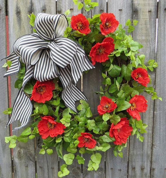 Poppy Door Wreath - Door Wreath with Red Poppies, Summer Wreath, Red, Black, and Ivory, Ticking Bow, Etsy Wreath, HornsHandmade