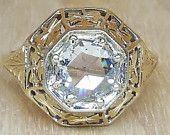 Elemek hasonló ELADVA --------------- Layaway Fizetési 2of3 T 11/30 ----------- Kiváló Rose gyémánt gyűrű 18k viktoriánus Bypass Rose Gold, divat, a globális és kézzel készített vintage piacon.