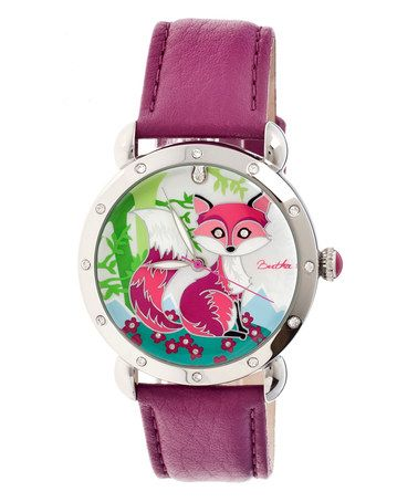 Love this Silver & Fuchsia Vivica Mother-of-Pearl Fox Leather-Strap Watch on #zulily! #zulilyfinds