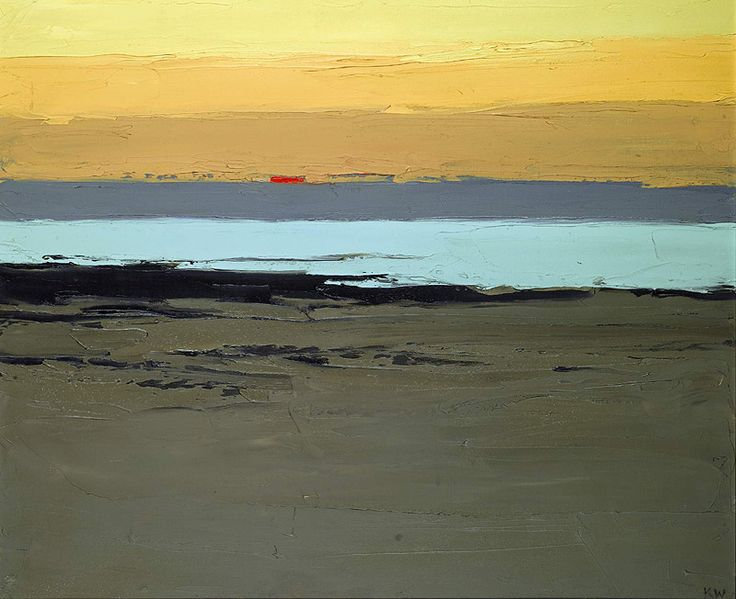 This is simplicity, you think...minimal use of colours, minimal use of brush strokes and up close it looks unimpressive, but stand back and look at it and you see the talent of the artist...Kyffin Williams