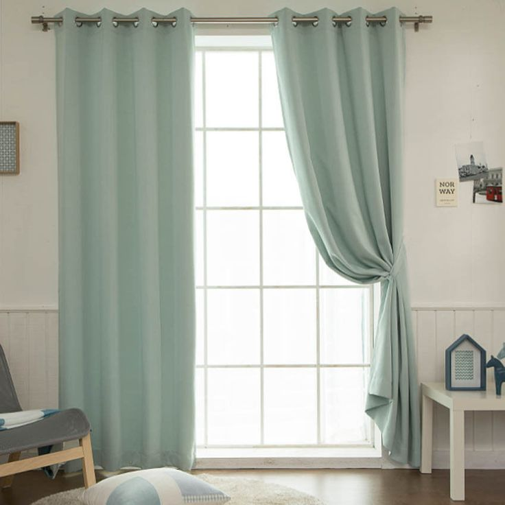 "Mint Solid Blackout Curtains Eyelet Grommet Nursery Curtains 102""W X 92""H Pair #Handmade #Modern"