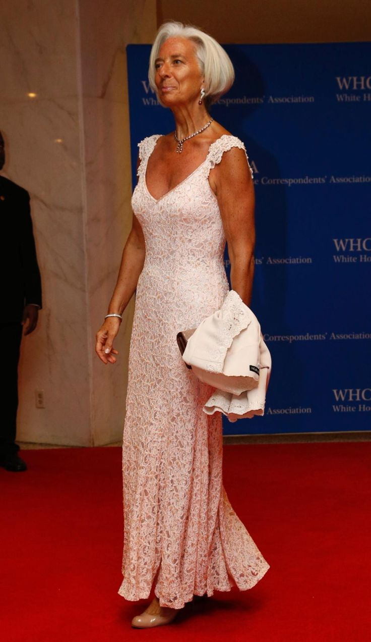 Christine Lagarde looked stylish and tan in white lace dress. I swear there must have been a sale on those old lady shoes because here they are again