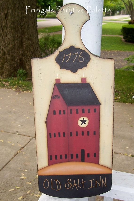 "Very large wood cutting board 18X7"" Hand Painted Saltbox House ""Old Salt Inn"" Primitive Plaque ♥♡♡ http://www.etsy.com/listing/98406950/primitive-wood-saltbox-house-colonial"