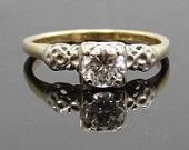 Lovely 14K Two-Tone Floral Design Vintage gyémánt eljegyzési gyűrű TE7TVY-P