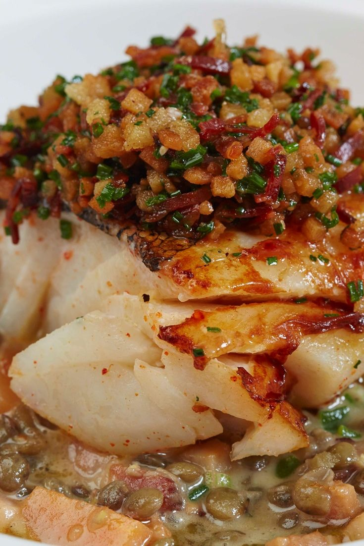 This comforting cod dish from Eric Chavot is a perfect meal for a cold winter's night, pairing the firm white fish with flavoursome lentils and pancetta
