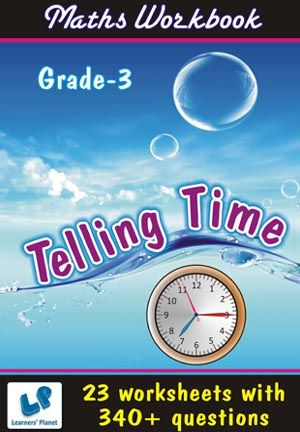 GRADE-3-MATH-TELLING-TIME-WORKBOOK This workbook contains printable worksheets on Telling Time for Grade 3 students.  There are total 23 worksheets with 340+ questions.  Pattern of questions : Subjective Questions, Objectivity based Questions.    PRICE :- RS.149.00