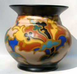Regina Pottery - This fabulous Regina vase is colorful and very pleasing to the eye. It's dated to early 1920's.