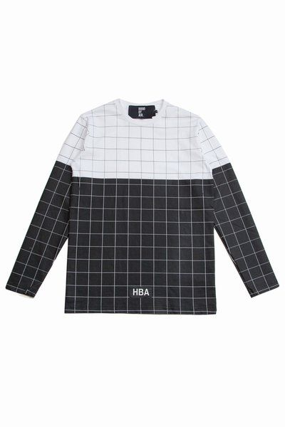 HOOD BY AIR // Black & White Grid Long-Sleeve Tee