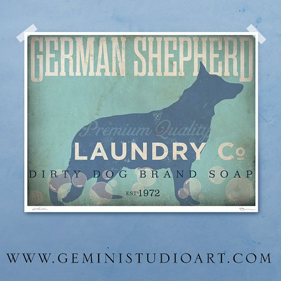 German Shepherd laundry company laundry room by geministudio, $25.00+ depending on size. Choose Your Breed! *