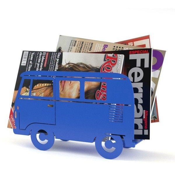 Campervan Magazine Rack Blue ($23) ❤ liked on Polyvore featuring home, home decor, small item storage, retro home decor, blue home accessories and blue home decor