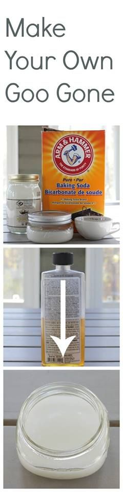 """DIY """"Goo Gone"""" 1. Measure about 1/3 cup of coconut oil into a glass measuring cup. Put it in the microwave for a few seconds. You will want the coconut oil to become a liquid, but not hot. 2. Add in 1/3 cup of baking soda to the coconut oil. Stir till combined and all the lumps are gone. Add a few drops (5-7) of lemon/ orange or citrus fresh essential oil.  3. Pour the combined mixture into a jar to store."""
