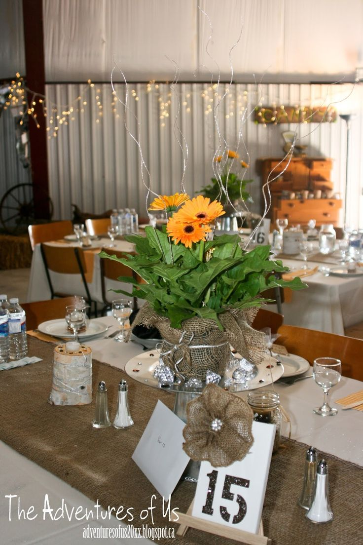 A Country Glam Wedding Inspiration (Gerber Daisy's, burlap, Antiques, Candy Station, Wedding Anniversary Message, S'more Love from http://adventuresofus20xx.blogspot.ca/2013/06/a-country-glam-wedding.html