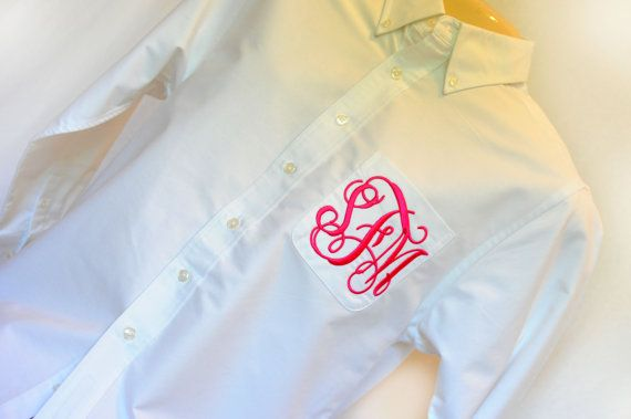White Monogrammed Boyfriend Shirt by LillysShopDotCom on Etsy, $29.99