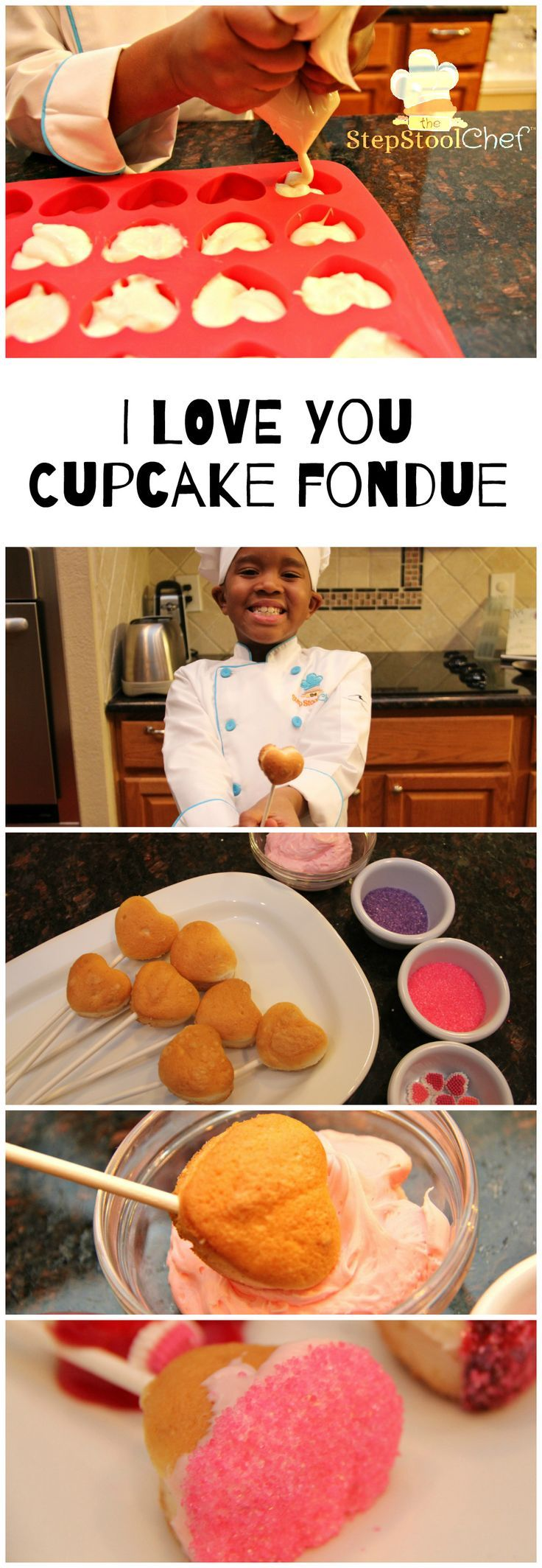 """You're going to fall in love with this adorable #Valentine treat. We call it """"I Love You"""" Cupcake Fondue. It's super easy and fun to do. Would make a great classroom treat. What a way to spend time with your little valentine. #happyvalentinesday #valentinetreat #kidsinthekitchen #nohelpneeded #maybejustalittle #ontheblog: http://www.stepstoolchef.com/i-love-you-cupcake-fondue/"""